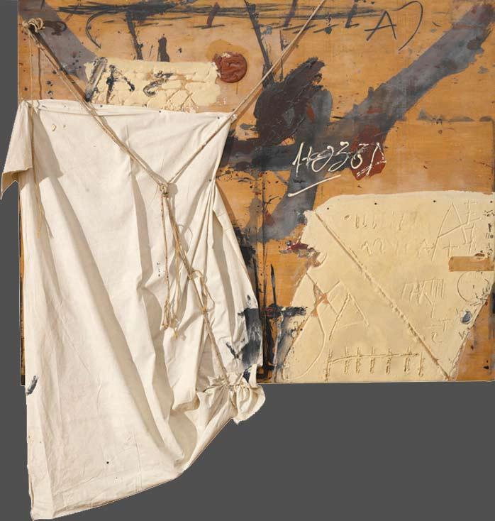 Montaje de texturas y materiales en un cuadro de Tapies
