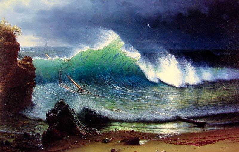 Albert Bierstadt - Olas del mar turquesa