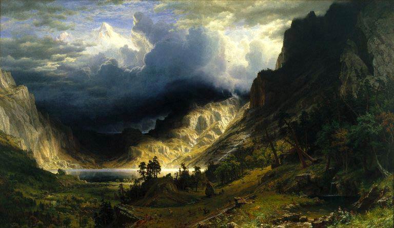 Albert Bierstadt - Tormenta en las montañas rocosas