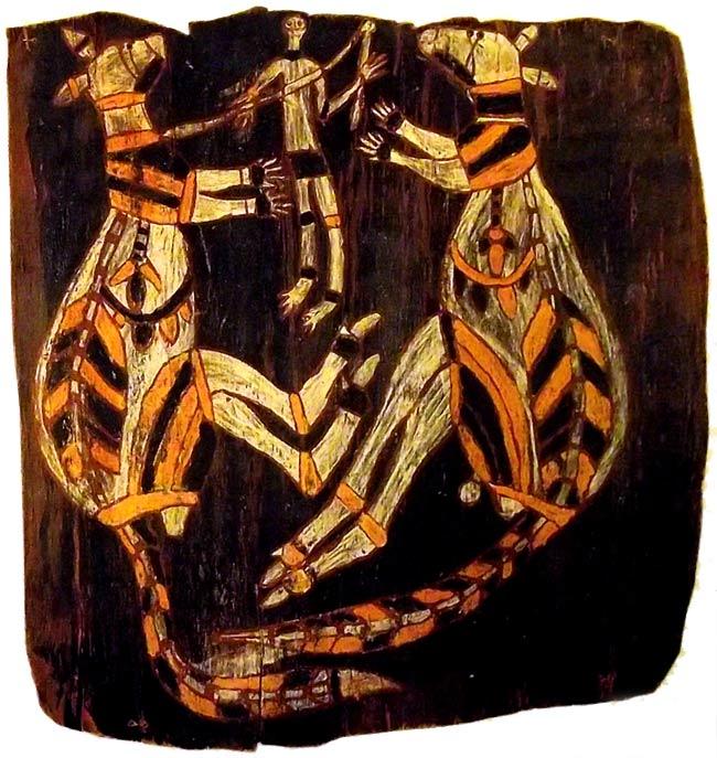 Cazador y canguro - arte aborigen australiano