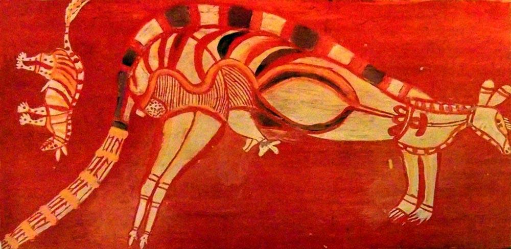 Canguro - arte aborigen australiano