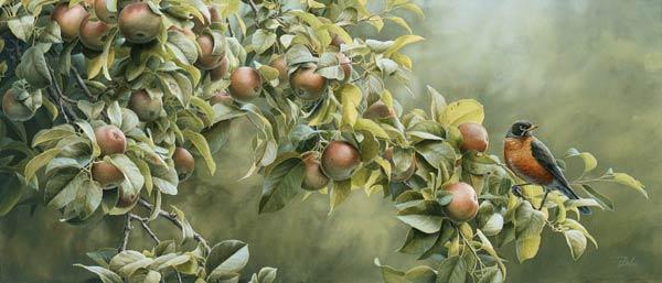 Pintura Pájaro en un manzano