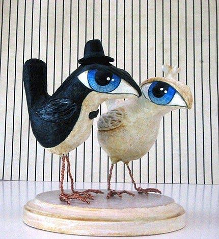 Pájaros de papel maché