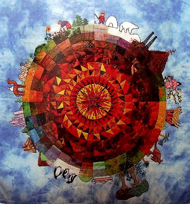 Diseño de un mundo, creado con patchwork