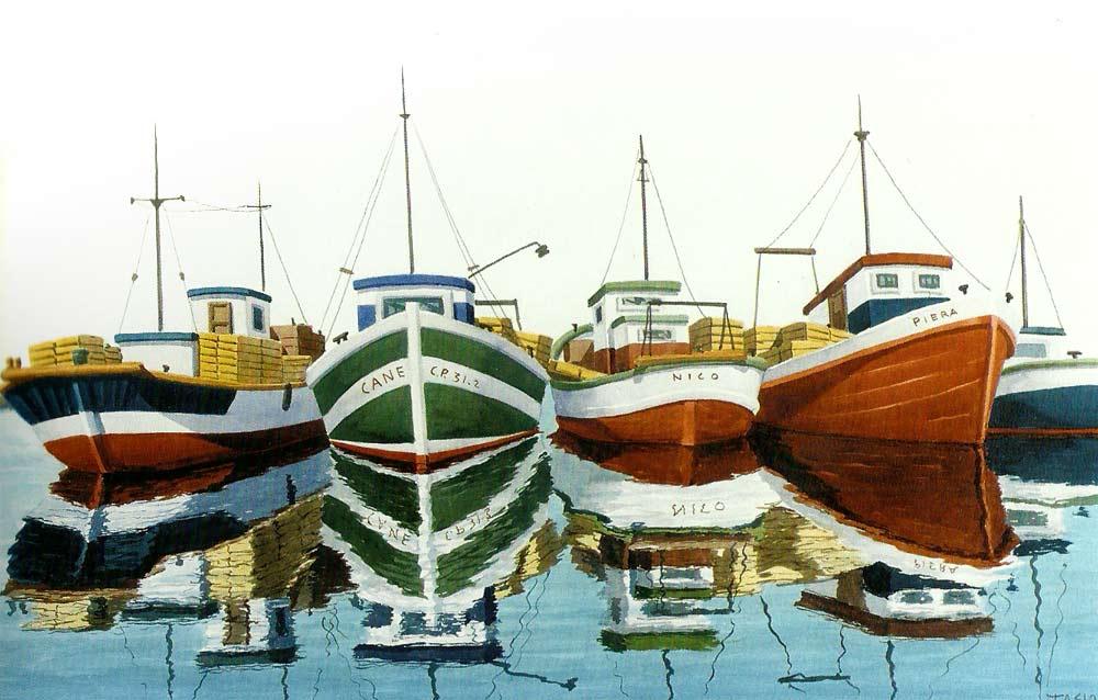 Cuatro barcas, acuarela de Tasio