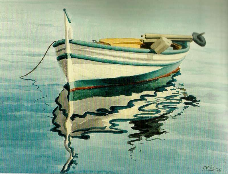 Barca, acuarela de Tasio