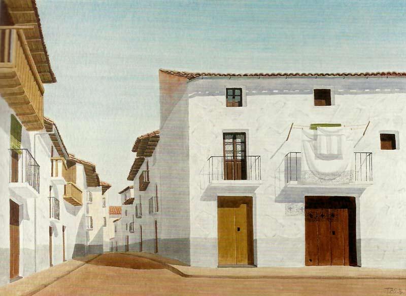 Casas en Forcall, acuarela de Tasio
