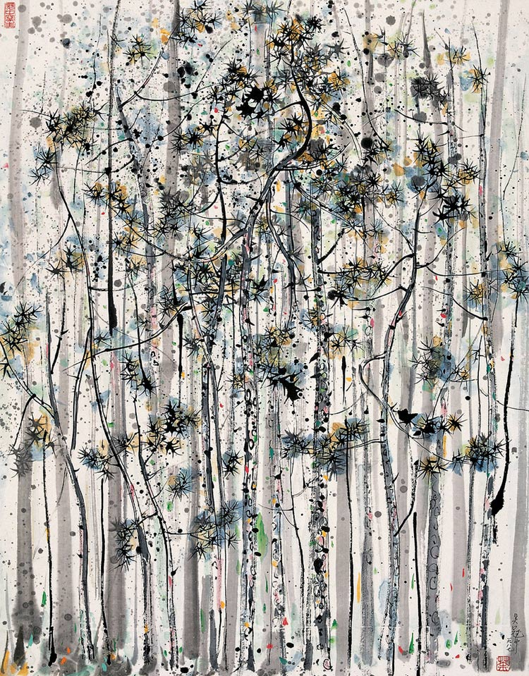 Árboles, pintura de Wu Guanzhong
