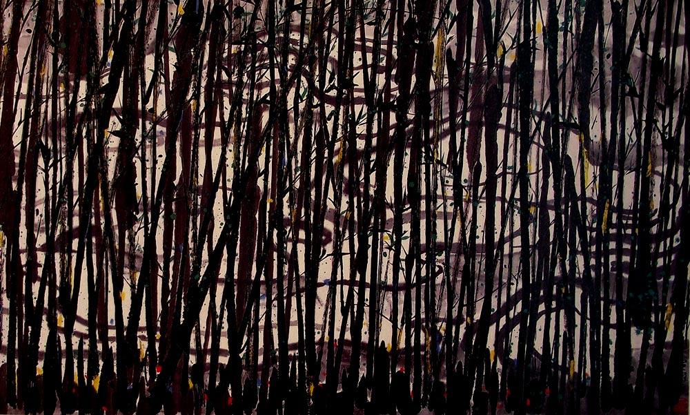 Bosque de bambús, pintura de Wu Guanzhong