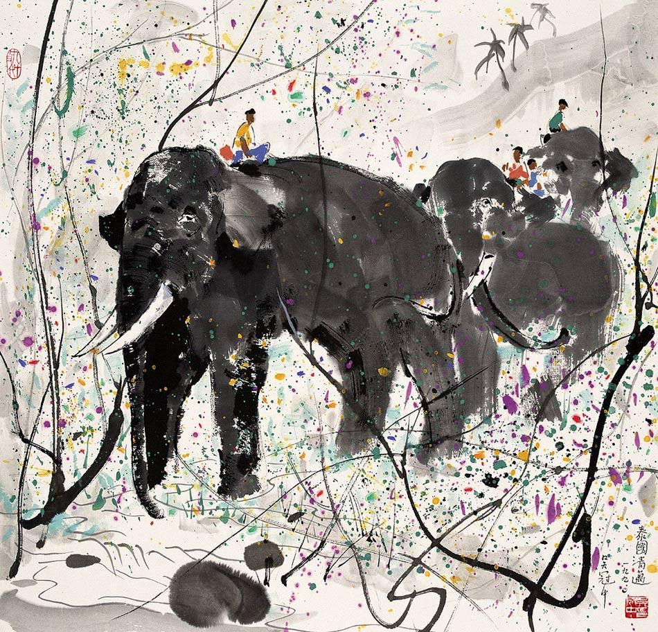 Elefantes, pintura de Wu Guanzhong