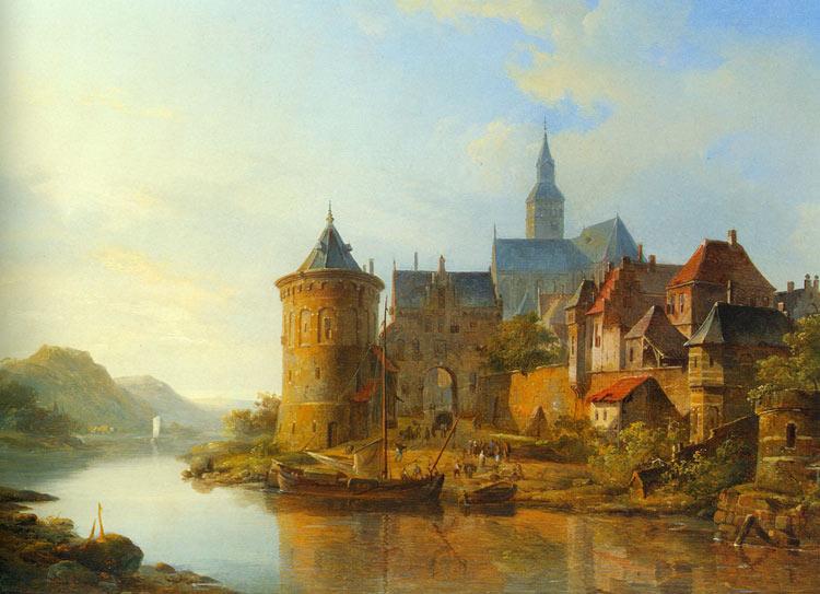 Vista de una ciudad a lo largo de Rin, Springer Cornelis