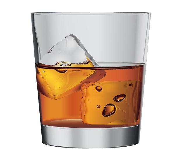 Vaso de whisky con hielos