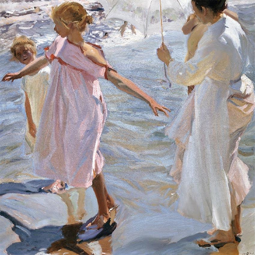 """Temperatura Baño Ninos:Sorolla pintó esta obra titulada """"Tiempo de baño"""" en las playas"""