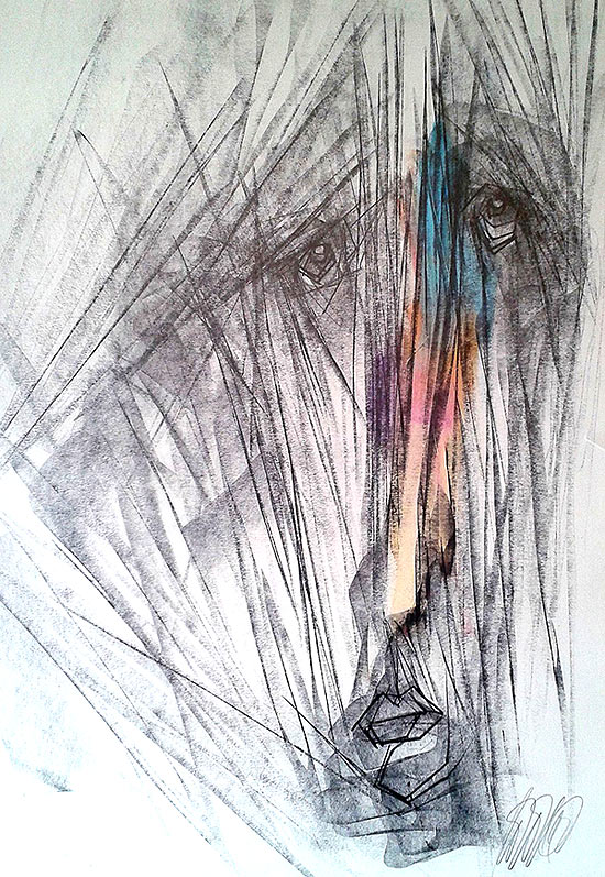 Dibujo de un rostro con lineas rectas