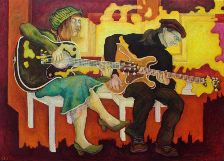 Músicos con guitarras de Gabriele Wendland