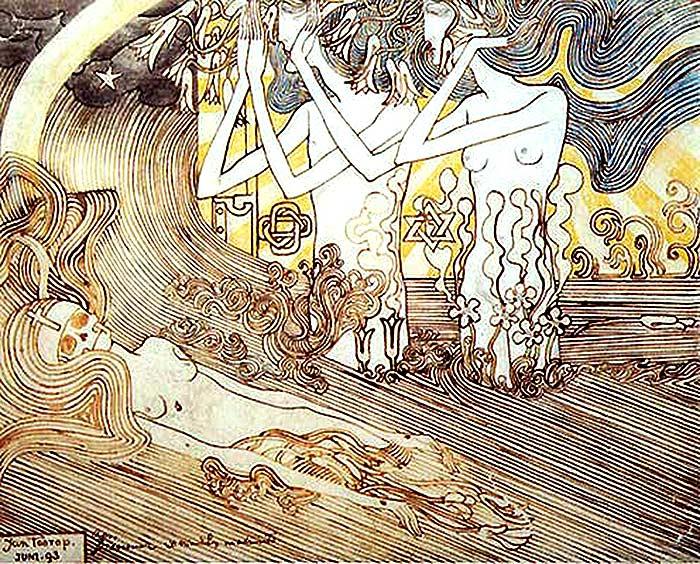 Jan Toorop, Dos mujeres lloran a una monja muerta