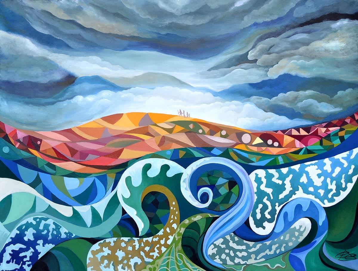 Cambio climático - pintura del mar, el cielo y la tierra