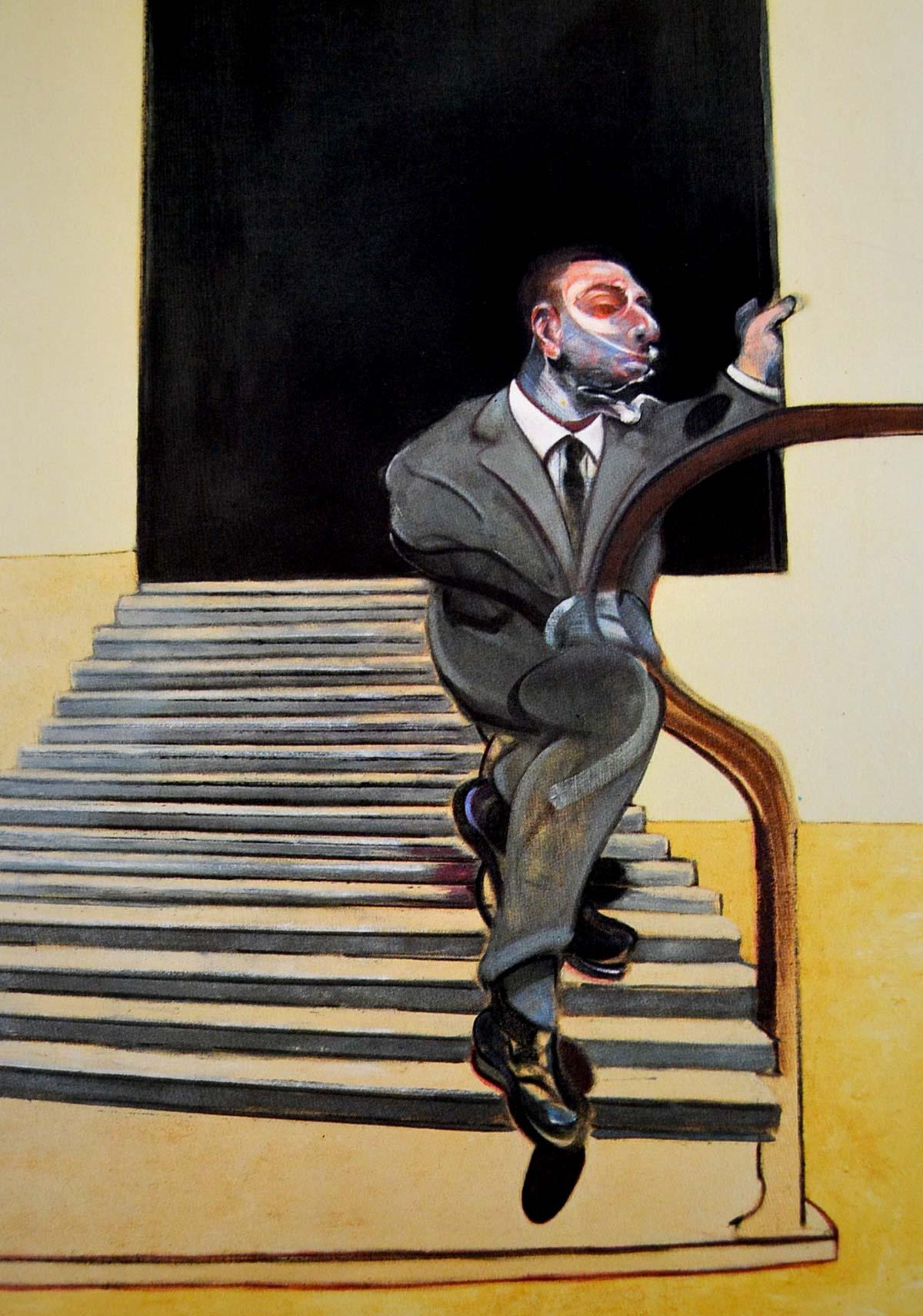 Pintura de Francis Bacon, hombre bajando una escalera