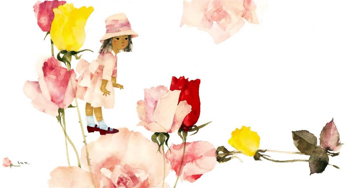 Tulipanes y niña de Chihiro