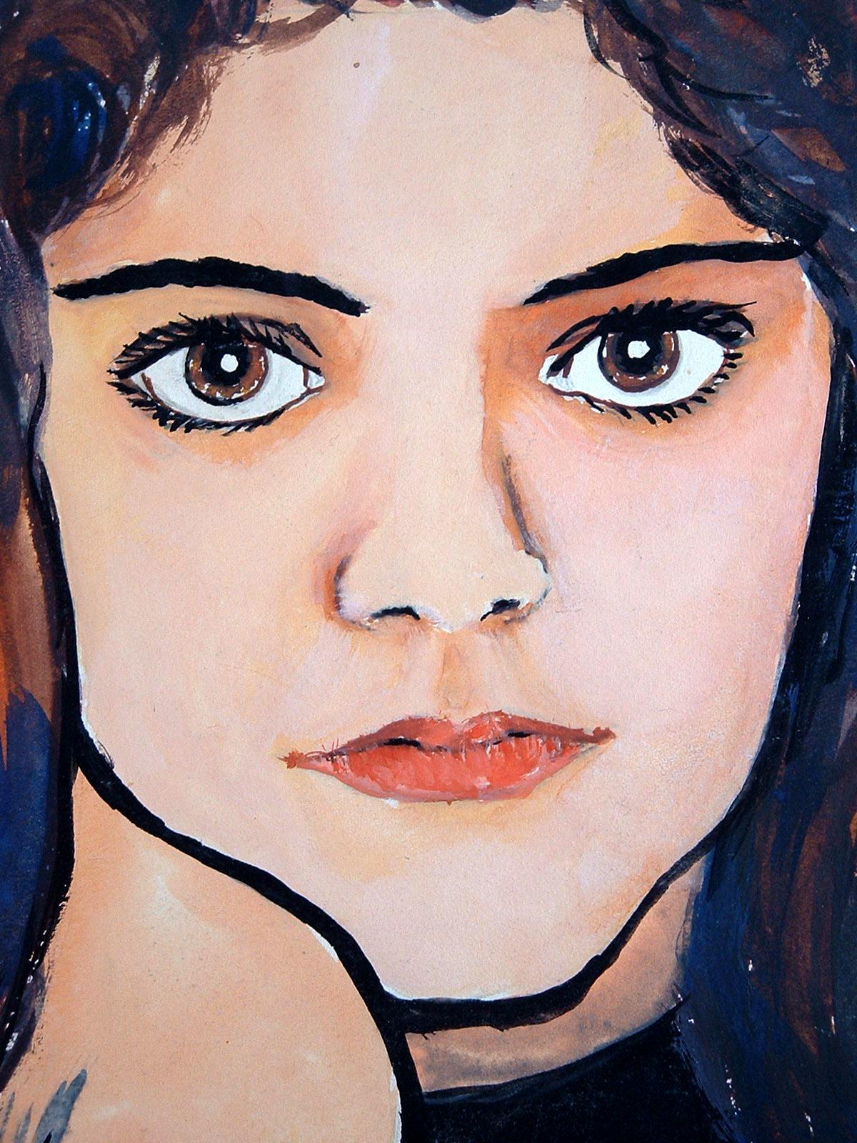 Autorretrato con acuarelas de Cristina Alejos