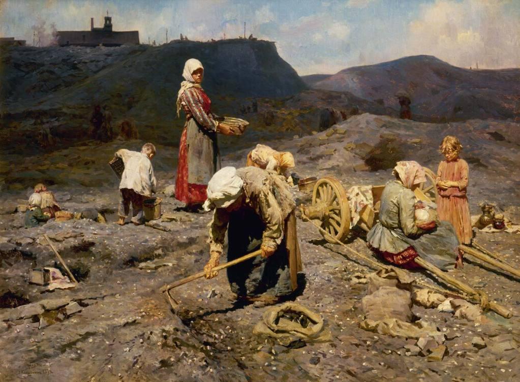 Pobres recogiendo carbones en la cantera, de Nikolaj Kasatkin