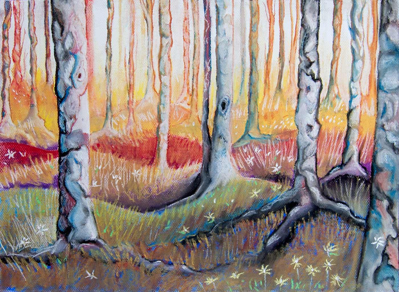 Pintura pastel bosque con el fondo iluminado pintura y - Nombres de colores de pinturas ...