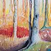 Pastel, Bosque con luz en el fondo