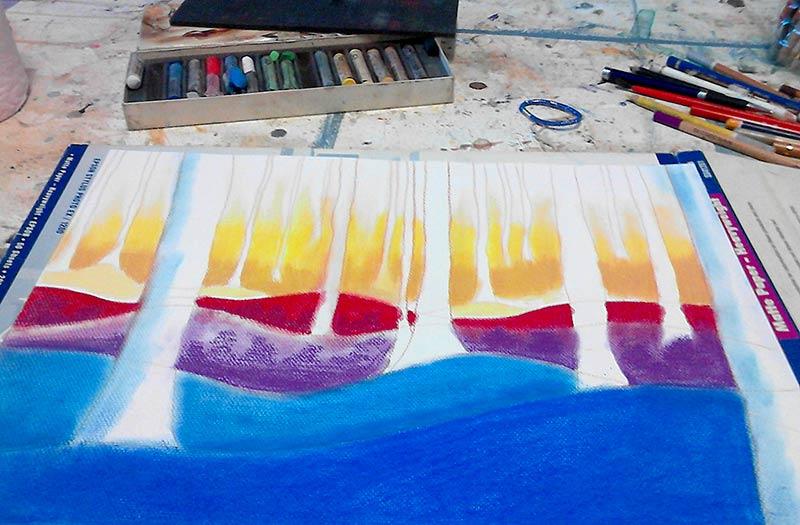 Fondo del bosque pintado con