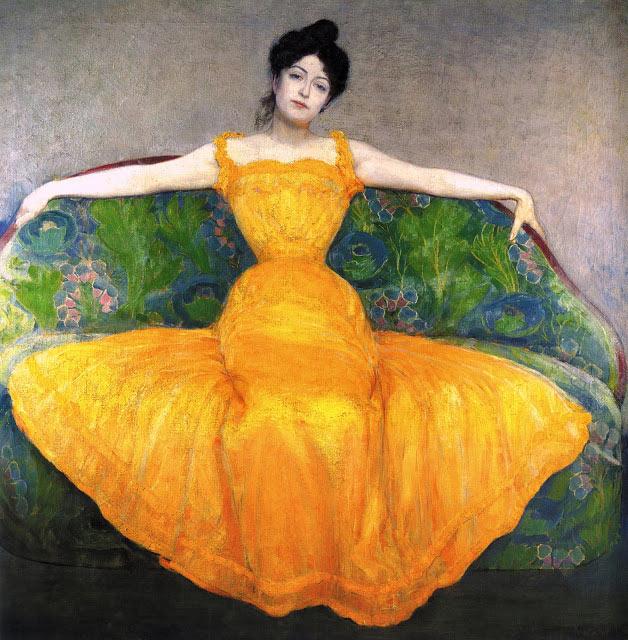 Mujer con vestido amarillo de Max Kurzweil