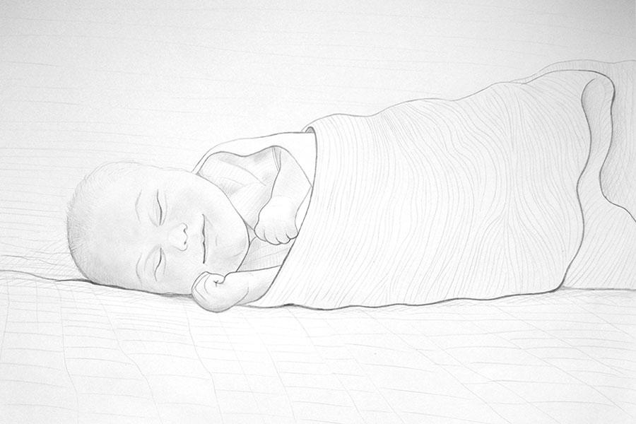 Dibujo de un bebé dormido que sonríe