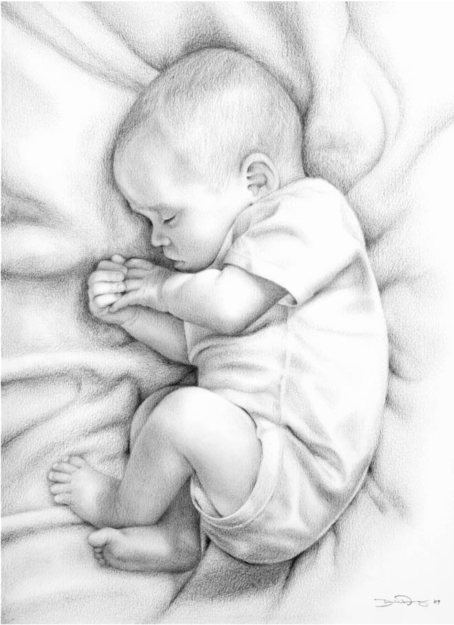Dibujo de un bebé dormido de Darin Ashby.