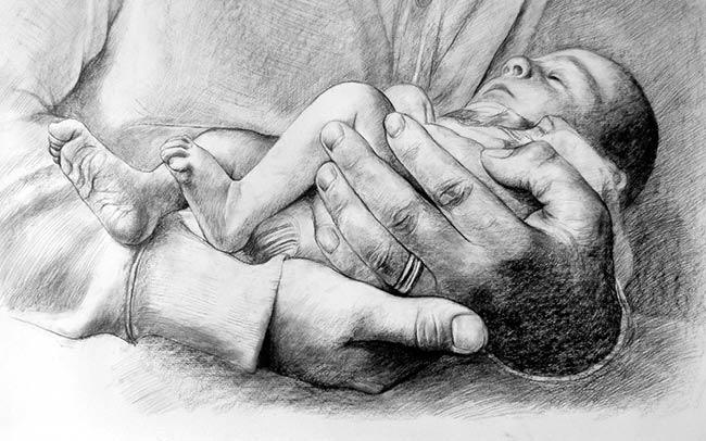 Dibujo de un Bebé en brazos de su padre