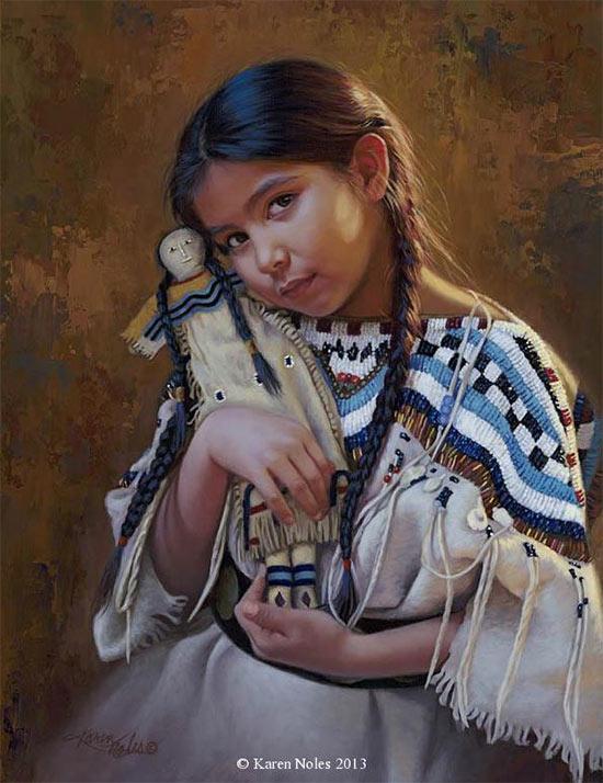Pintura de niña india de Karen Noles