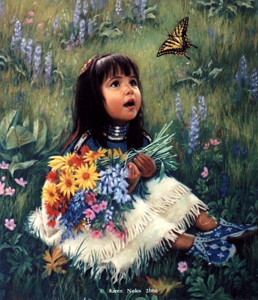 Pintura de niña Pequeña mariposa de Karen Noles