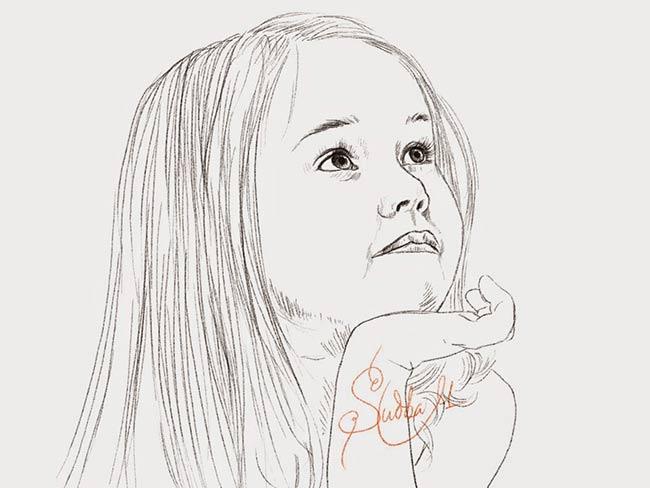 Dibujo del rostro de una niña