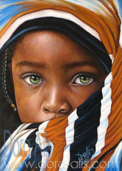 Pintura de Dora AlisMera, niña de raza negra