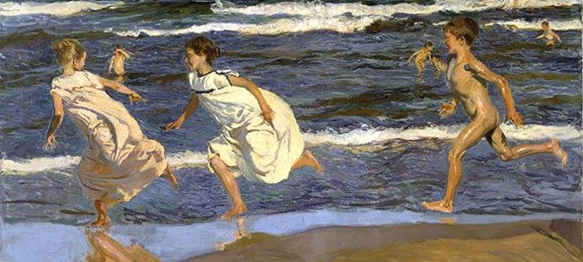 Niños corriendo por la playa de Joaquín Sorolla