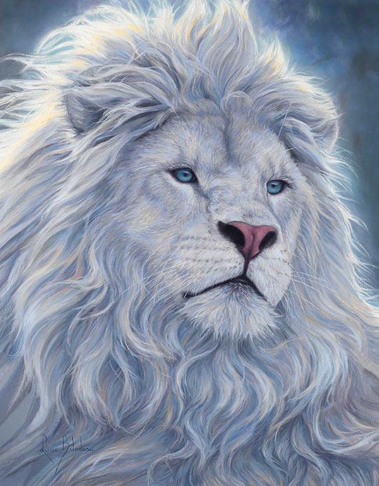 Pintura de un león blanco
