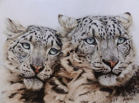 Pintura de panteras de las nieves
