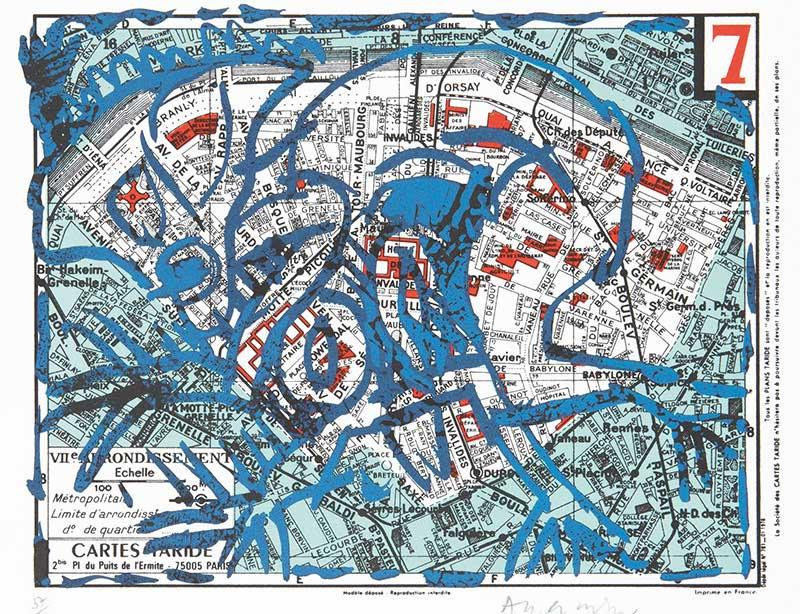Mapa de Paris 7 distrito de Pierre Alechinsky