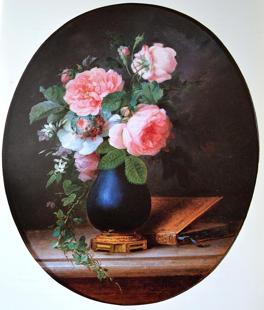 Rosas en un jarrón azul