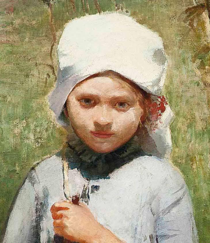 Detalle de la niña - Pintura de Ignac Ujvary - Paseo de verano