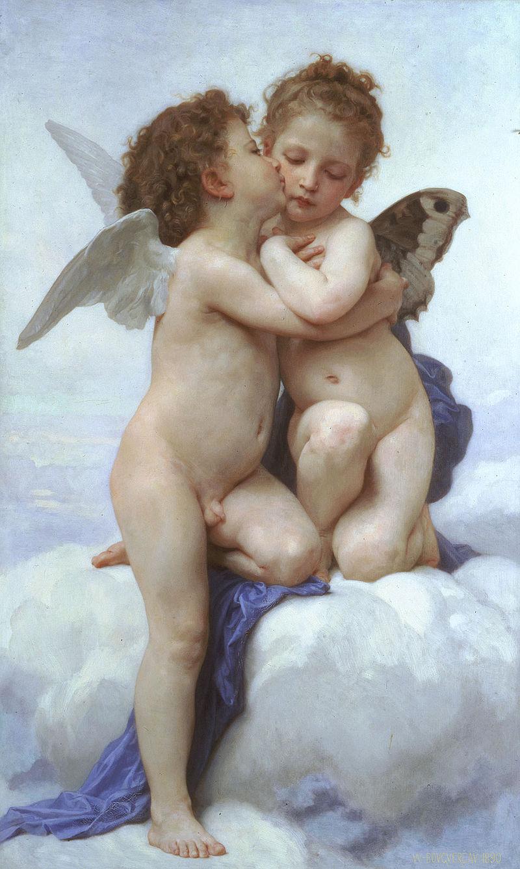 Pintura Amor y Psique niños