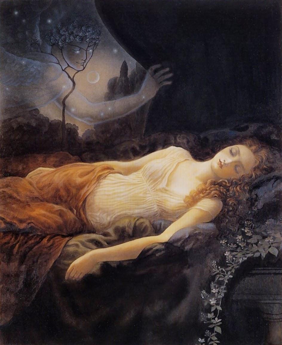 Pintura Psique durmiendo