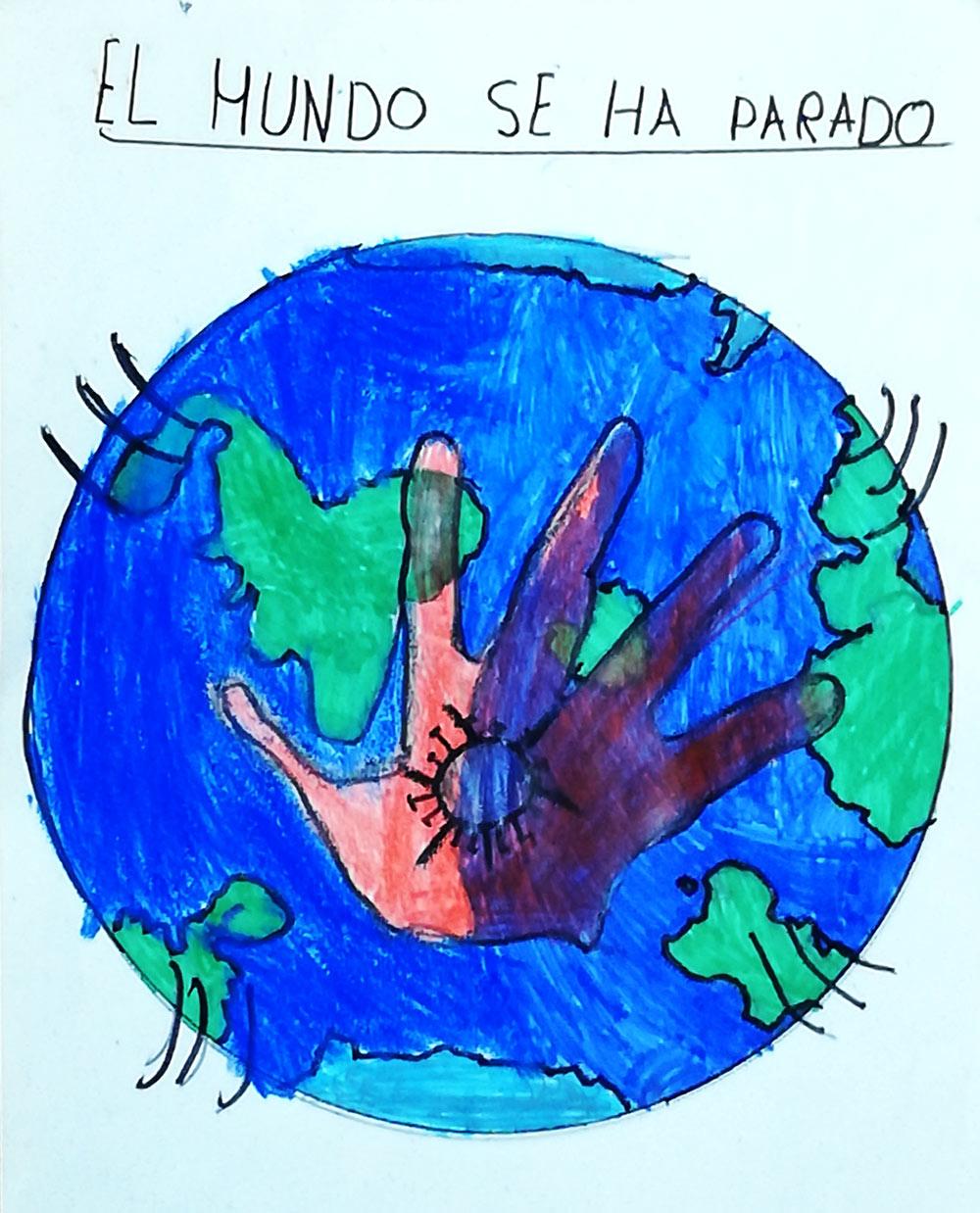 El mundo coronavirus, dibujo niños
