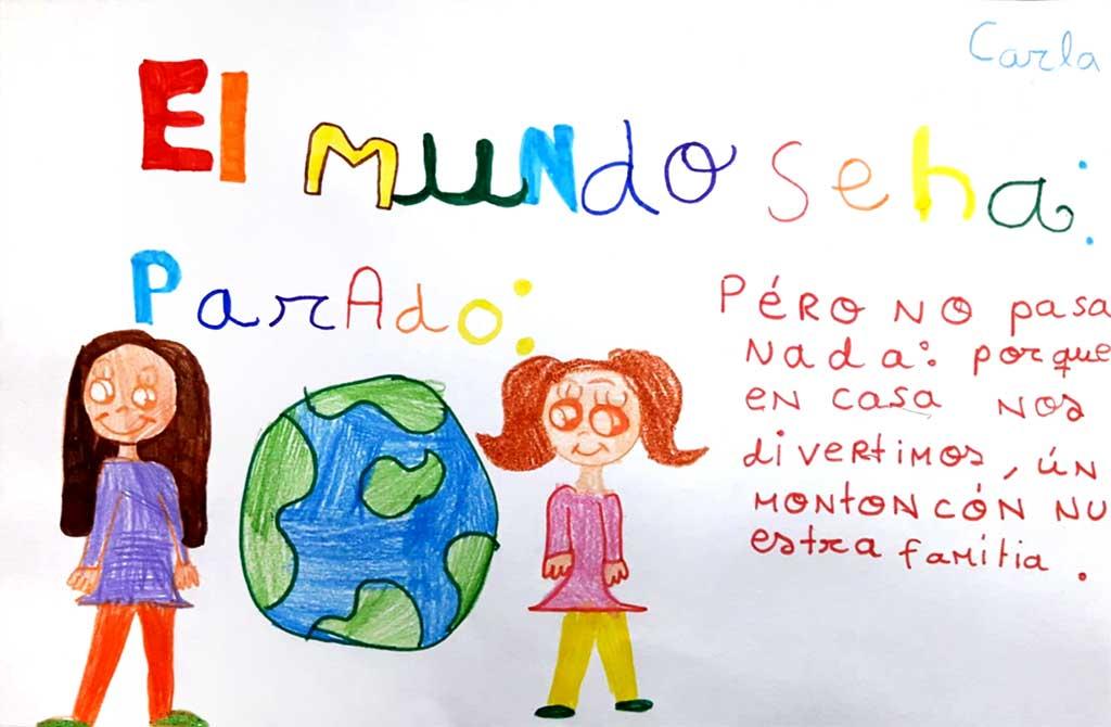 dibujo niños mundo parado