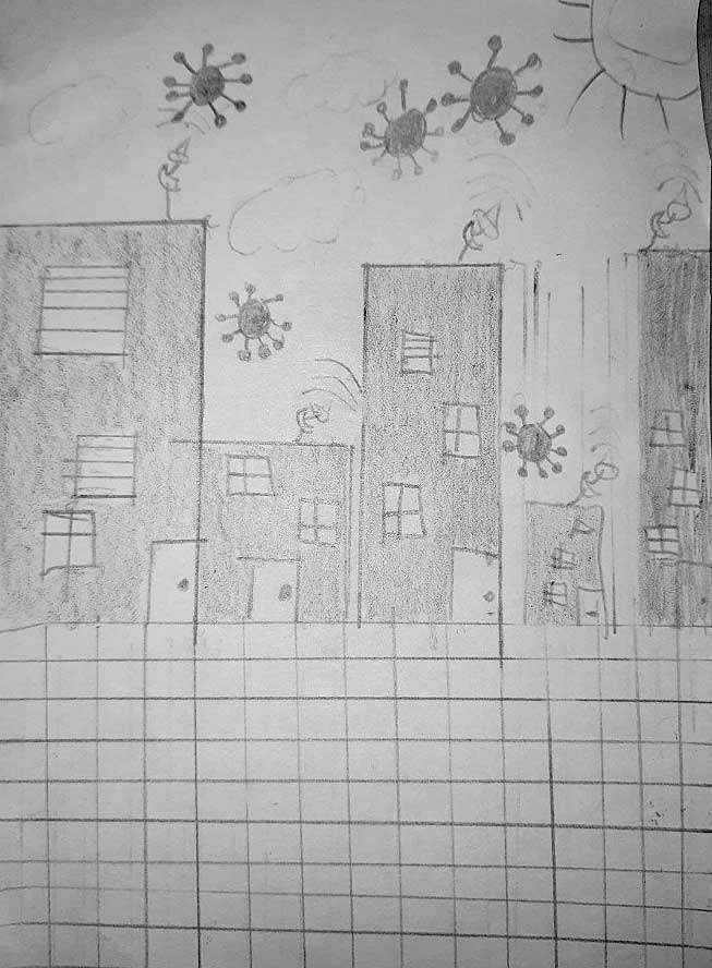 mundo ciudad dibujo coronavirus