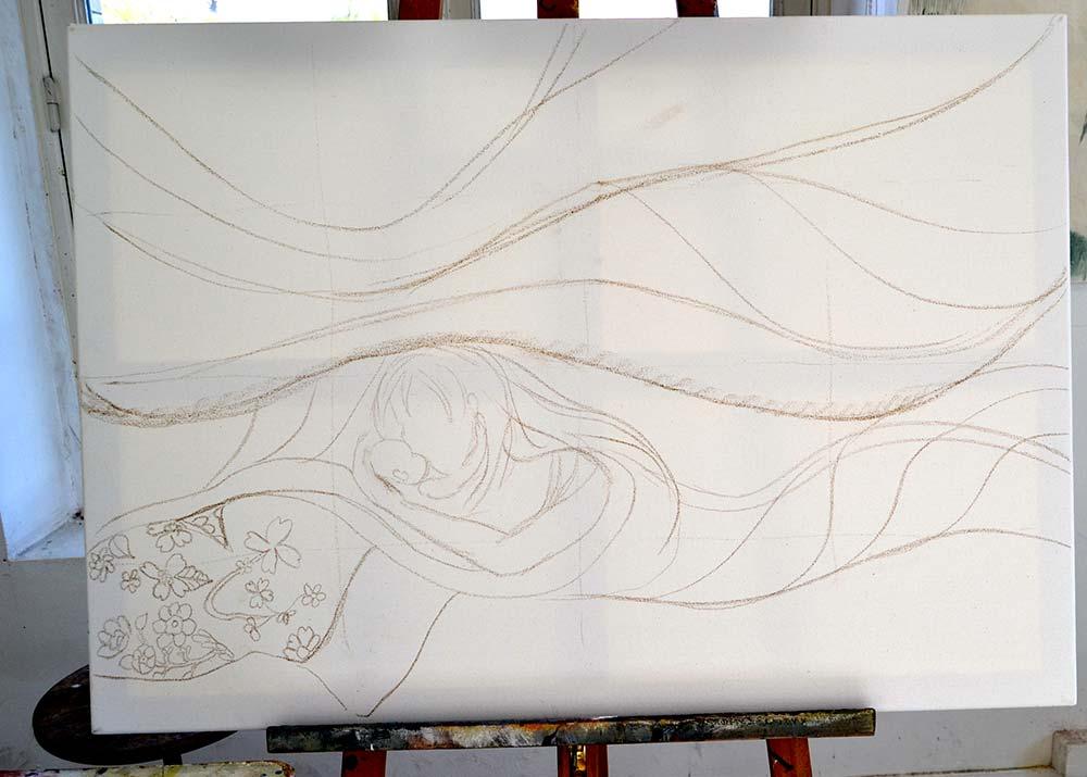 dibujo sobre lienzo