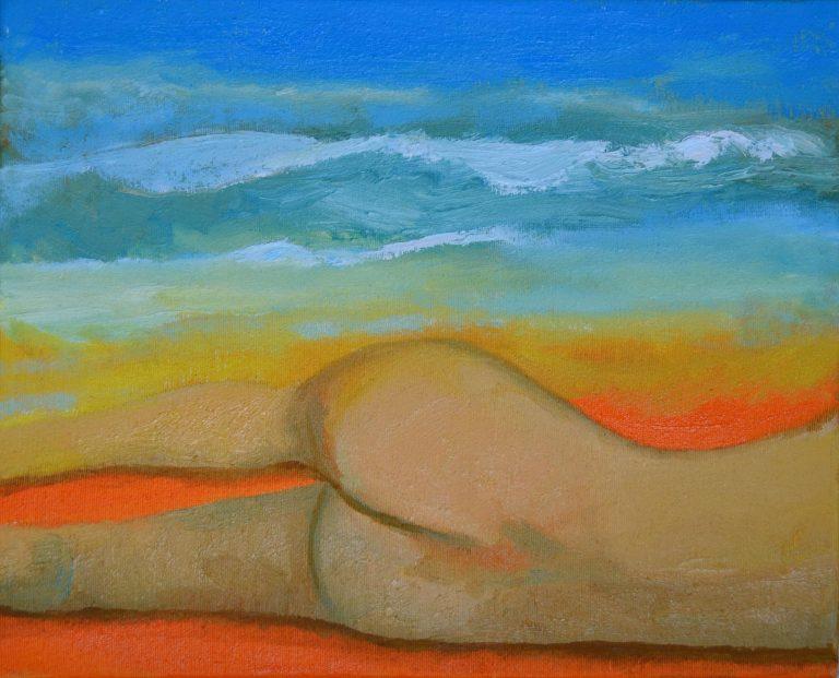 pintura hombre tumbado mirando el mar