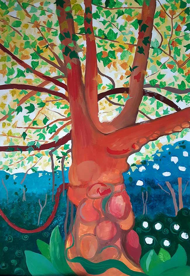 árbol grande pintura hojas